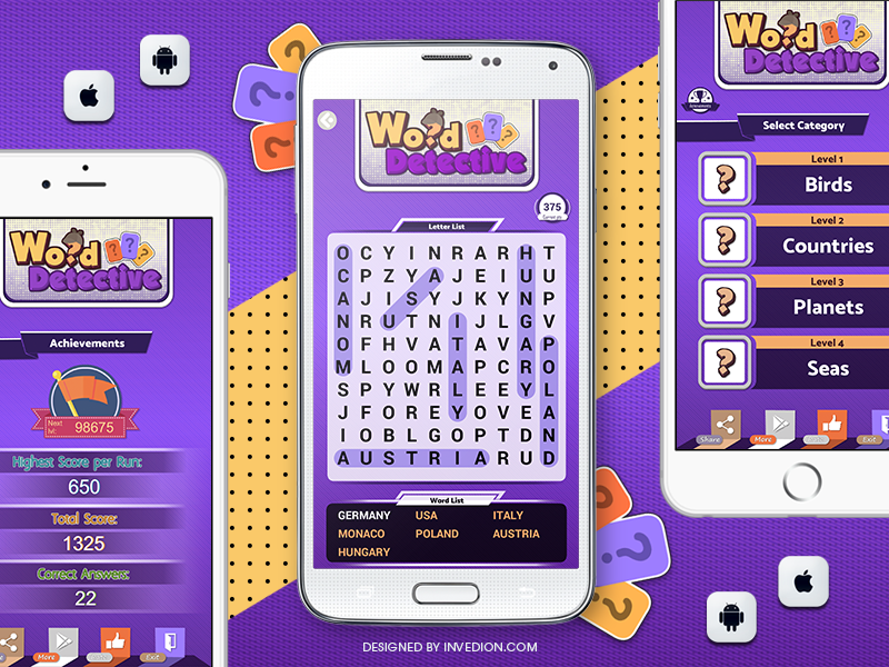 📝 Word Search Detective Android & iOS Mobile App mobile game crossword letters question invites educational iphone ipad android ios puzzle quiz word search mobile app
