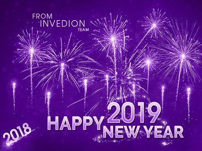 Happy New Year 2019 From Invedion Team happy wow new special free gift luxury business logo team ui fireworks white violet illustration invitation invites wishes new year new year 2019