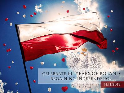 Celebrate 101 Years of Poland Regaining Independence eagle home homeland heart family patriotism independence day november 11 freedom polish flag flag 101 years
