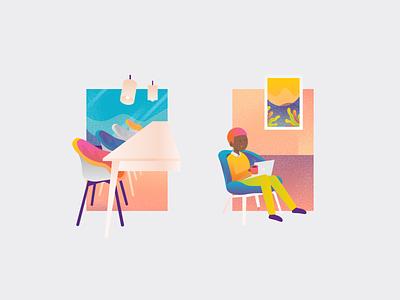WaaS 3 vector meeting coffee reading colorful gradient article webdesign website web people job working illustration workplace ui ux