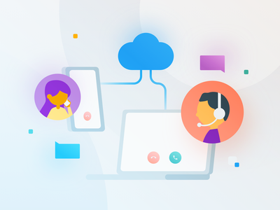 Call cloud voip phonecall floating flat particles laptop phone call colorful bloom gradient vector people ui illustration graphic design