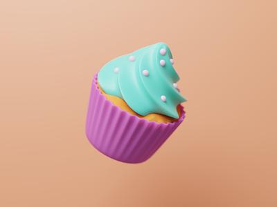 Cupcake blender3d cup cake illustration icon teal peach pink cupcake learning blender 3d