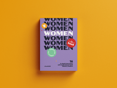 Women in SaaS Cover yellow purple sticker cover book phone telecomunication cloudtalk interviews saas women ebook download