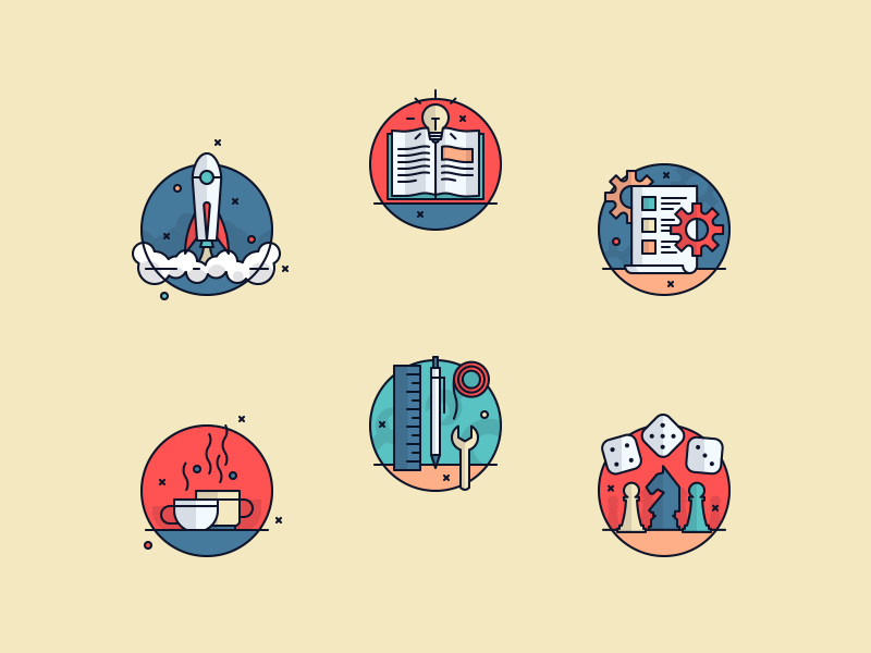 Ludu Illustrations 01 dice pen outline lightbulb book game coffee rocket icons illustrations icon illustration