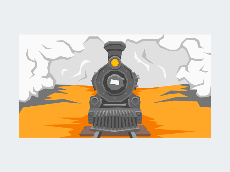 Steamy pollution tracks wild west light cloud front old timey western train engine steam