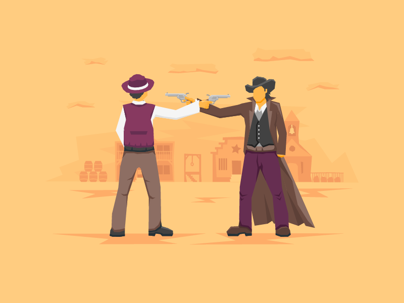 Too close polygon illustration wild west western bandit sherrif coat hat pistols town standoff cowboy