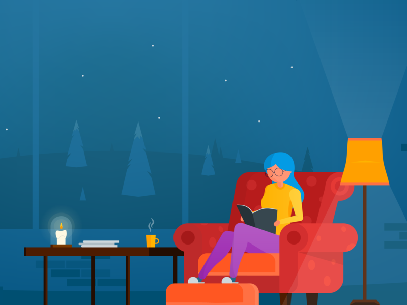Reading time night woman candle chair sofa book winter coffee christmas illustration reading magazine