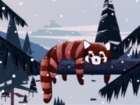 Little cute winter-Raccoon-illustrations