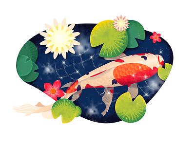 Koi-illustration-Lotus pond moonlight koi illustration animal