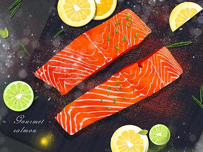 Food illustration series-Salmon paprika lemon salmon food illustration