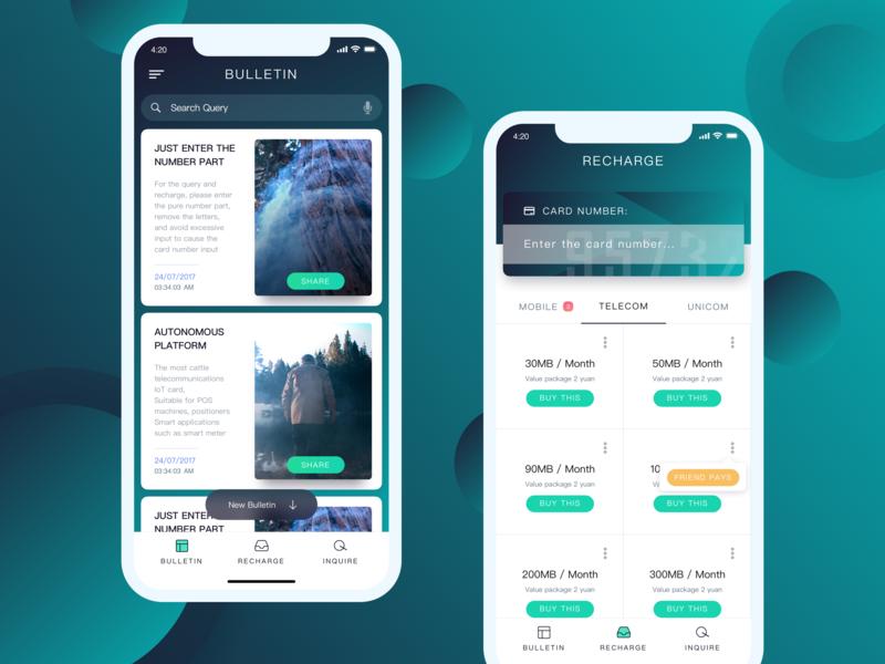 Information - top up App ui recharge news app flow inquire