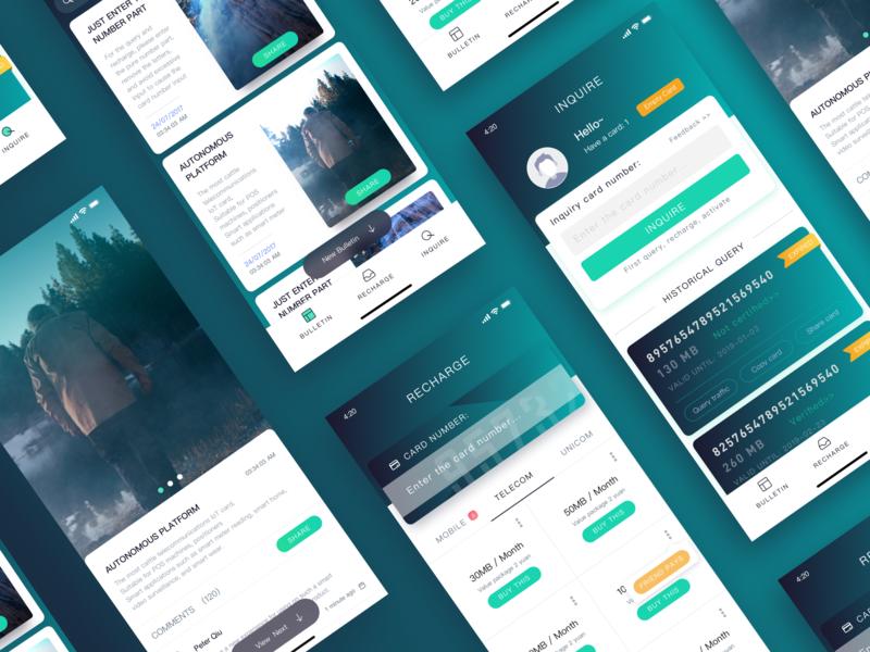 Information - top up App - Set popular inquire flow news app 设计 应用 插图 ui