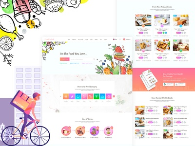 Foodland - Food Delivery Landing page PSD Template vegetarian vegan subscription organic nutrition menu kitchen meals healthy food health fitness delivery catering calories