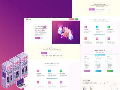 Saass host - Hosting Landing psd Template whmcs web security vector vps server ssl isometric illustration ico hosting gradient domain dedicated cryptocurrency crypto cloud design clean
