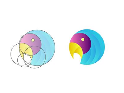 Mr Parrot gridding bird golden ration parrot grid logo grid design logo design logo