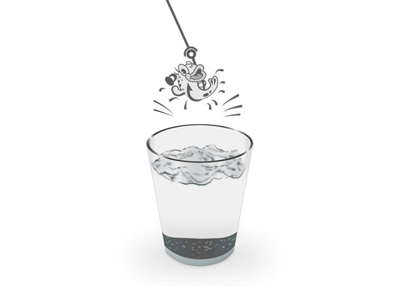 Fish Out Water vector design adobe illustrator illustration fishing glass water fish