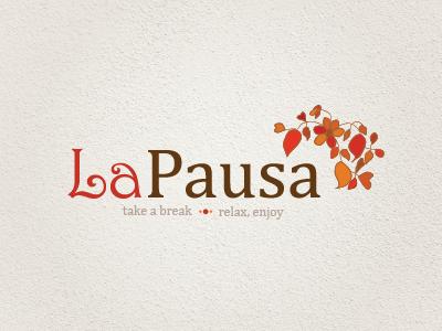 La Pausa logo cafe tree flower plant organic