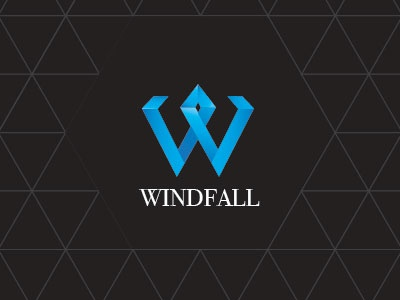 Windfall - Diamond logo branding blue ribbon origami diamond