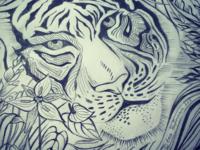 Tyger tyger sketch hand drawn pencil tiger scarf illustration