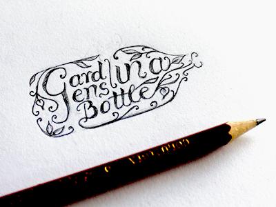 Gardens Sketch #1 logo lettering type identity branding leaves organic sketch hand-drawn