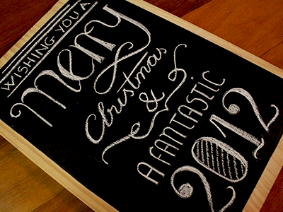 Merry Xmas lettering typography type christmas chalk