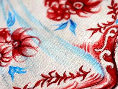 Dress Illu - detail illustration sketch watercolor red
