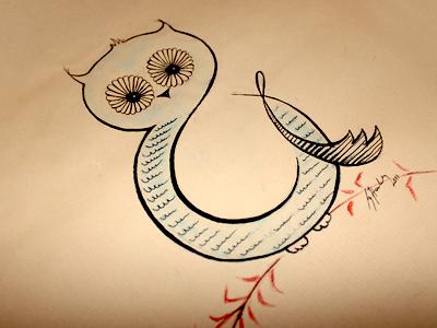 Ampersand Owl ampersand owl type lettering illustration