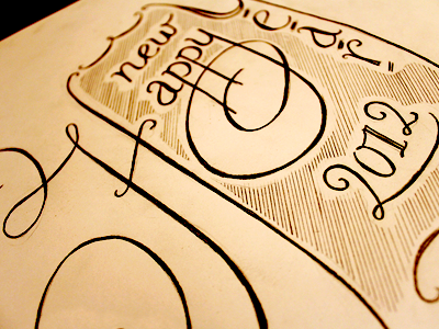 ...to the awesome ppl on Dribble! happy new year lettering type sketch
