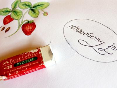 Jam Labels - Sketch phase - Strawberry labels type illustration