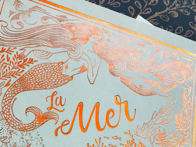 La Mer illustration postcard hand drawn hot foil