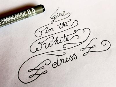 Girl White Dress Sketch wedding logo identity branding photography lettering type typography
