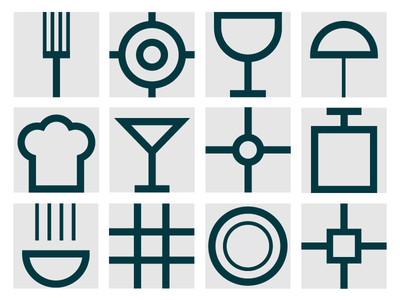 Icons for Cantina Moderna canteen restaurant kitchen modern style minimalism visual identity visual style graphic design illustration icon