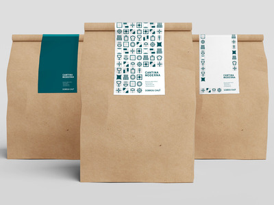 Packaging for Cantina Moderna canteen restaurant visual identity visual style icons modern style