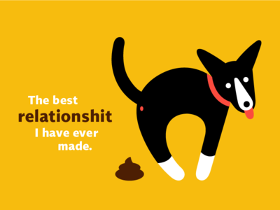 The Best Relationshit I Have Ever Made puppy poop icon graphic design flat design dog vector illustration
