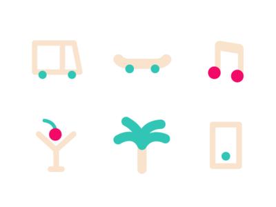 Summer Icons illustration set icon phone drink music skateboard van palm summer