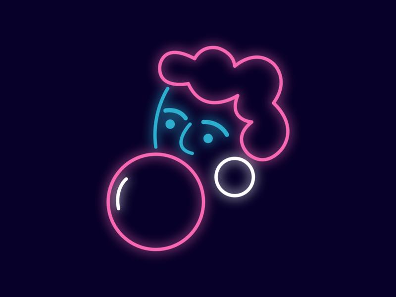UseIt Tbilisi bubble gum maps girl portrait illustration neon