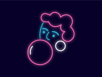 UseIt Tbilisi bubble gum maps girl portrait illustration neon