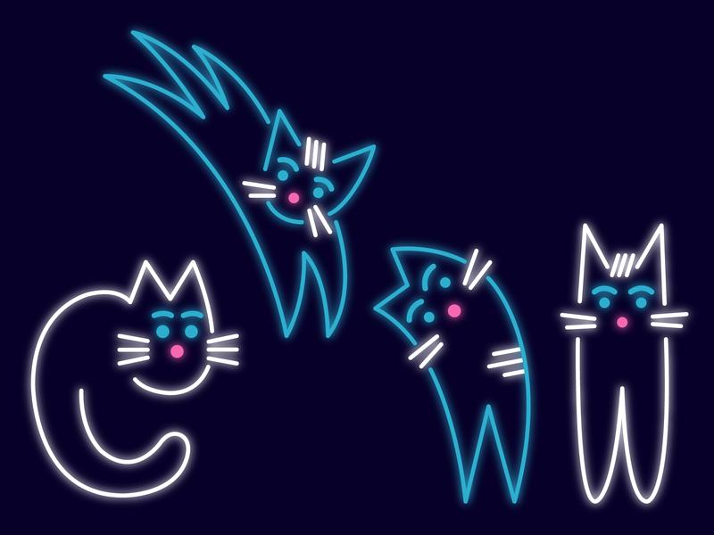 UseiIt Tbilisi illustration cats neon
