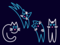 UseiIt Tbilisi illustration cats neon