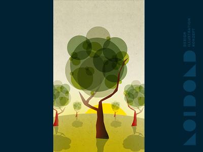 Daytime Trees Illustration vectors illustration