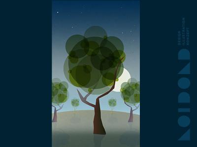 Nighttime Trees Illustration vectors illustration