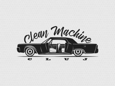 Clean Machine Cluj logo cleaning easternblock illustration automotive interiors cluj clean machine