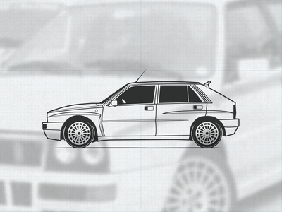 Lancia Delta Integrale illustration vector rally lancia integrale illustration icon delta car automotive