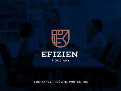 Efizien® logotype logo design fiduciary insurance graphic design advertising stationary branding