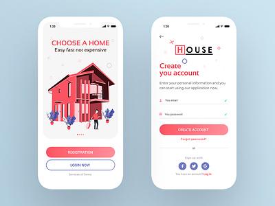 Login UI ios registration login manuel illustration house vector logo minimal concept cart product card preview social app design web ux ui