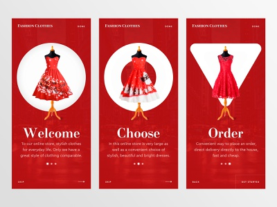 Onboarding - Online clothing store onboarding woman concept cart product card beautiful social app website design web ux ui