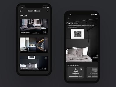 Smart House Concept black  white black house smart concept cart product beautiful home social app website design web ux ui