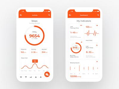 Concept - Fitness Activity App orange graphic activity fitness minimal concept card home app website design web ux ui