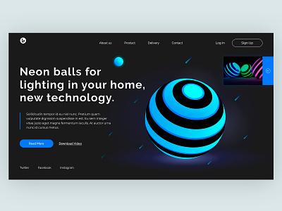 Home Screen - Neon Balls website vector minimal illustration cart product concept home social app design web ux ui