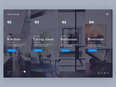 Home Screen - Interior Design interior design interior social minimal card concept product preview home website design web ux ui